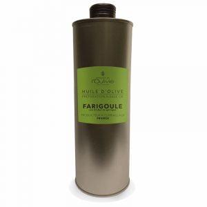 Huile d'olive La Farigoule, spécialité du Domaine L'Oulivie. La Farigoule est une huile d'olive très goûteuse aux herbes de la garrigue.
