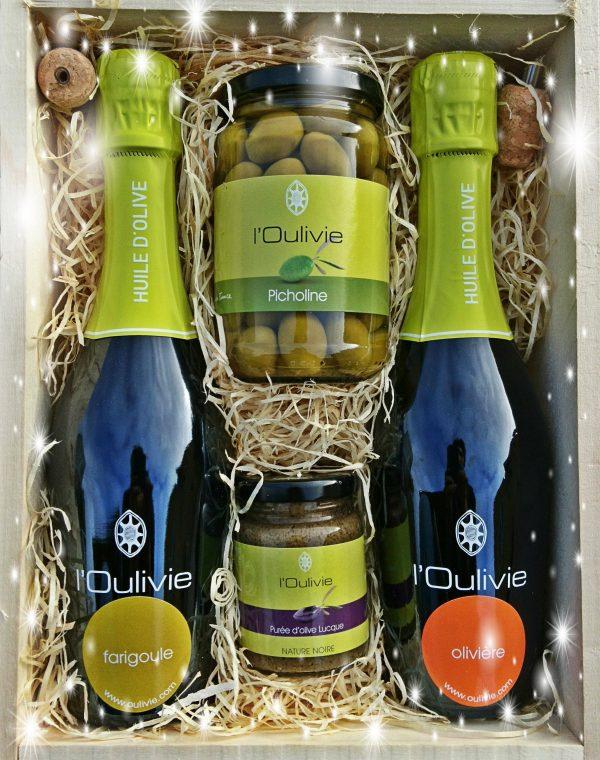 Coffret Gourmand confectionné avec les huiles olives et purée du domaine L'Oulivie