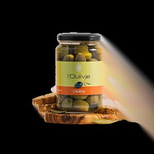 Olives Olivière vertes du Domaine L'Oulivie. Variété typique des Pyrénées-Orientales, cultivée dans l'Aude et L'Hérault. Olives fruitées.
