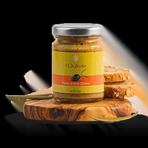 Purée d'Olivière du Domaine L'Oulivie. Obtenue à partir d'olives variété Olivière, finement broyées et d'huile d'olive. A toaster.