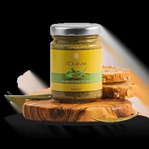 Purée de Lucques au basilic du Domaine L'Oulivie. Obtenue à partir de Lucques broyées auxquelles nous ajoutons huile d'olive et basilic.